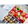 BoxEnjoy - fehér LOVE ládika desszert doboz- piros szappanrózsával, Nutella és Ferrero Rocher