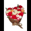 BoxEnjoy - barna szív desszert doboz- piros szappanrózsával és Raffaello-val