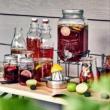 Italadagoló - limonádés üveg (4 literes) csappal és fém állvánnyal + ajándék 2db bögre tetővel és szívószállal