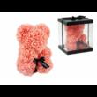 Rózsa maci. örök virág maci díszdobozban 25 cm - barack