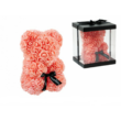 Rózsa maci díszdobozban 25 cm - barack