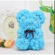 Rózsa maci, örök virág maci díszdobozban 25 cm - kék