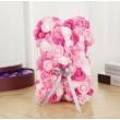 Rózsa maci, örök virág maci díszdobozban 25 cm - rózsaszín-fehér mix