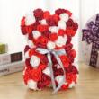 Rózsa maci, örök virág maci díszdobozban 25 cm - piros-fehér-bordó