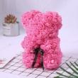 Rózsa maci, örök virág maci díszdobozban 25 cm - rózsaszín