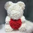 Rózsa maci díszdobozban 40 cm - fehér piros szívvel