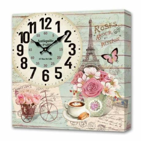 Falióra, vintage stílusú dekoráció - Eiffel 24cm X 24cm