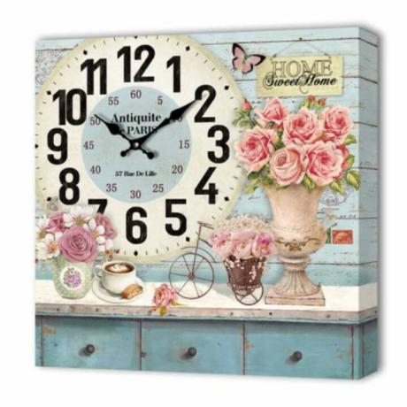 Falióra, vintage stílusú dekoráció . rózsa és bicikli 24cm x 24cm