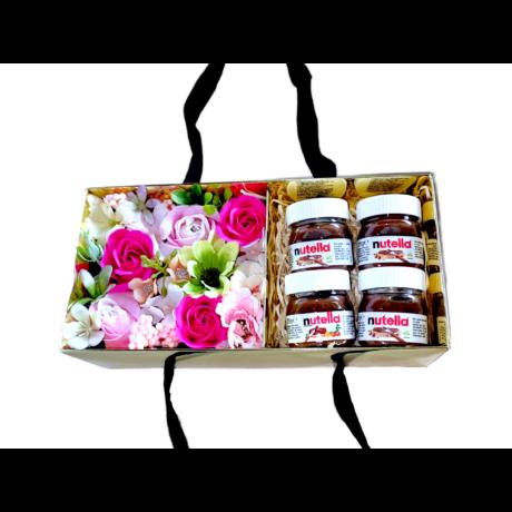 BoxEnjoy - arany box ajándékdoboz rózsaszín szappanrózsával - Nutella-val