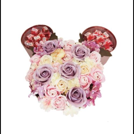 BoxEnjoy - MICKEY rose gold desszert doboz- lila szappanrózsával és Mon Chéri pralinéval