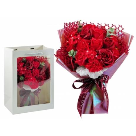 Szappanrózsa virágcsokor dísztasakban piros