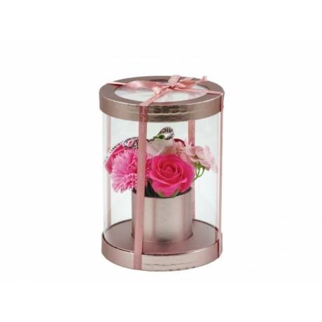 Szappan rózsacsokor rose gold henger dobozban