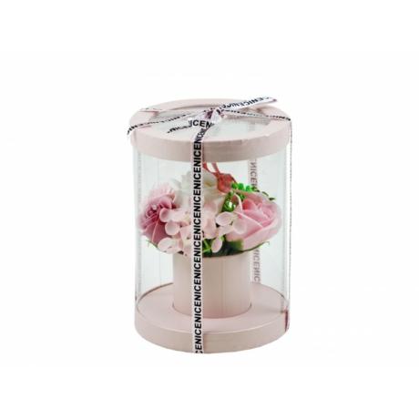 Szappan rózsacsokor rózsaszín henger dobozban