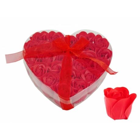 Szappanrózsa szív piros 24db-os