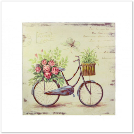 Falikép bicikli és virág 38cm x 38cm