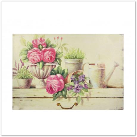 Falikép csendélet - virág és madárka 36cm x 51cm
