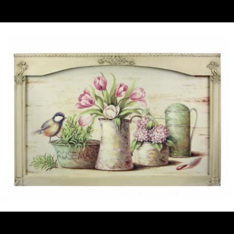 Falikép csendélet - virág és madár 66cm x 43cm