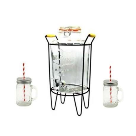 Italadagoló - limonádés üveg (8 literes) csappal és fém állvánnyal + ajándék 2db bögre tetővel és szívószállal