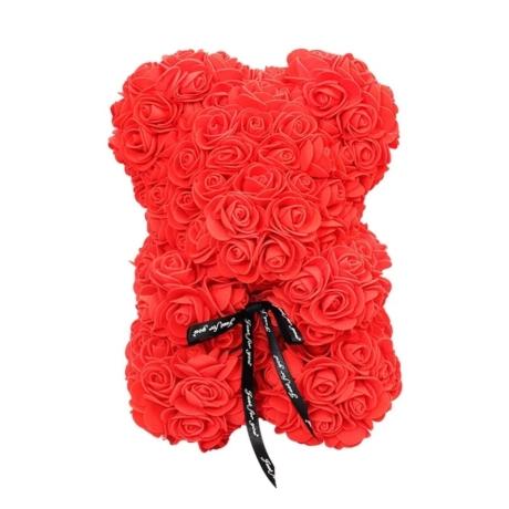 Rózsa maci, örök virág maci díszdobozban 25 cm - piros