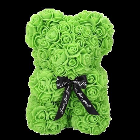 Rózsa maci, örök virág maci díszdobozban 25 cm - zöld