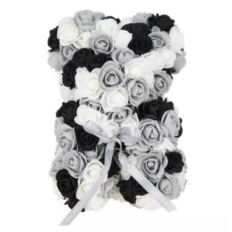 Rózsa maci, örök virág maci díszdobozban 25 cm - szürke-fekete-fehér mix