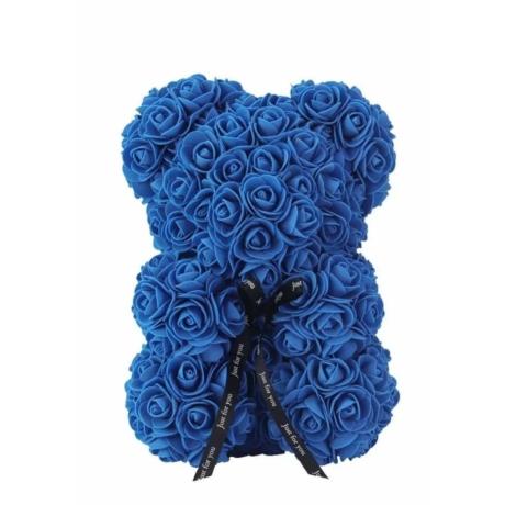 Rózsa maci, örök virág maci díszdobozban 25 cm - sötét kék