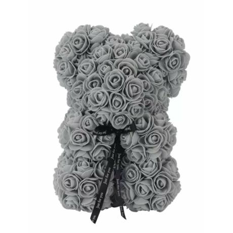Rózsa maci, örök virág maci díszdobozban 25 cm - szürke