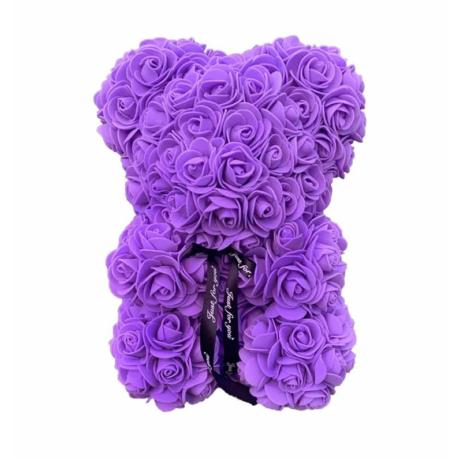 Rózsa maci, örök virág maci díszdobozban 25 cm - lila