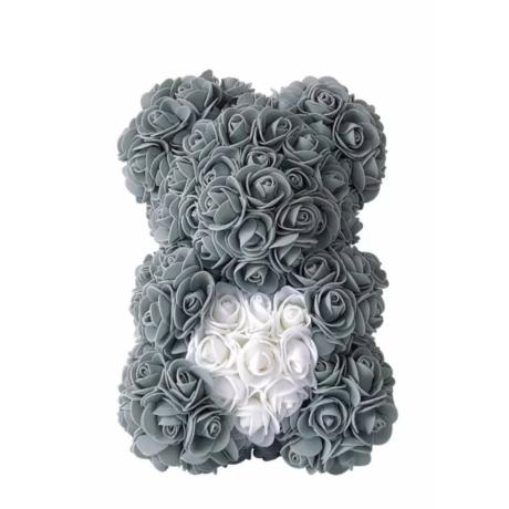 Rózsa maci, örök virág maci díszdobozban 25 cm - szürke-fehér