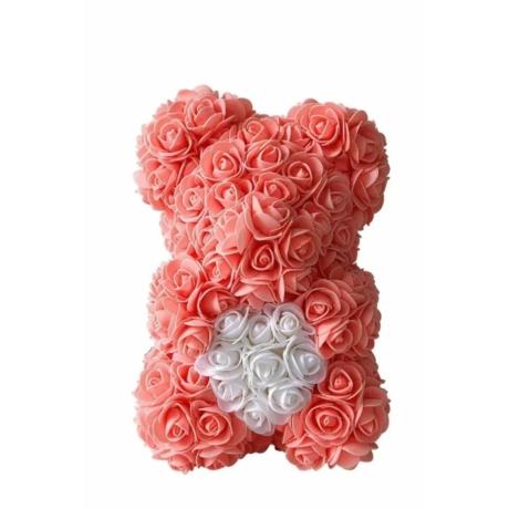 Rózsa maci díszdobozban 25 cm - barack-fehér