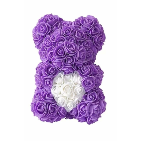 Rózsa maci, örök virág maci díszdobozban 25 cm - lila-fehér