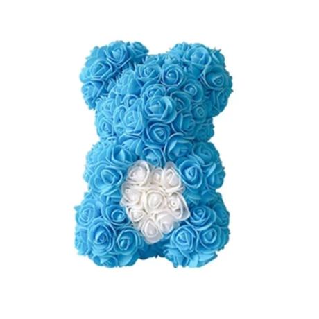 Rózsa maci, örök virág maci díszdobozban 25 cm - kék-fehér
