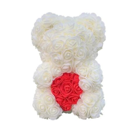 Rózsa maci, örök virág maci díszdobozban 25 cm - fehér-piros