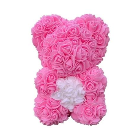 Rózsa maci díszdobozban 25 cm - rózsaszín-fehér