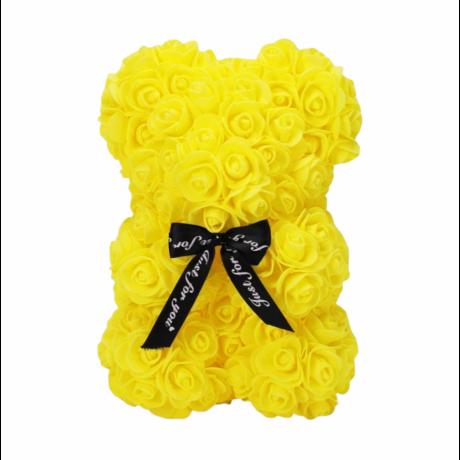 Rózsa maci, örök virág maci díszdobozban 25 cm - sárga