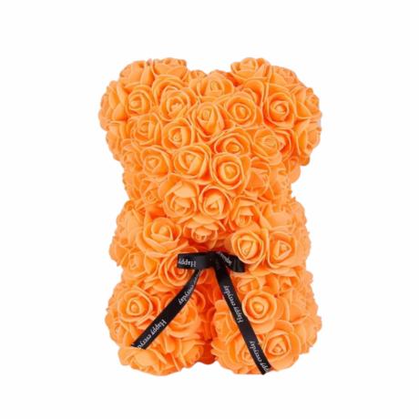 Rózsa maci, örök virág maci díszdobozban 25 cm - narancs