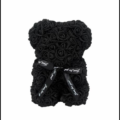 Rózsa maci, örök virág maci díszdobozban 25 cm -fekete