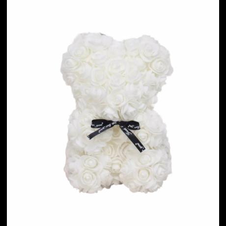 Rózsa maci, örök virág maci díszdobozban 25 cm - fehér