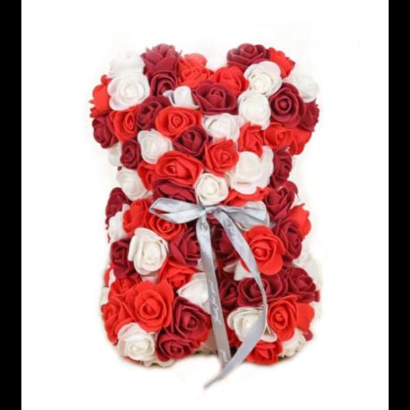 Rózsa maci díszdobozban 25 cm - piros-fehér-bordó