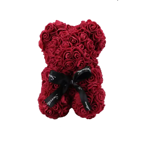 Rózsa maci, örök virág maci díszdobozban 25 cm - bordó
