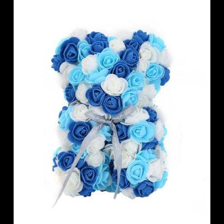 Rózsa maci, örök virág maci díszdobozban 25 cm - kék-fehér mix