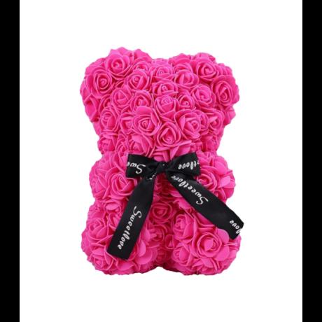 Rózsa maci, örök virág maci díszdobozban 25 cm - pink
