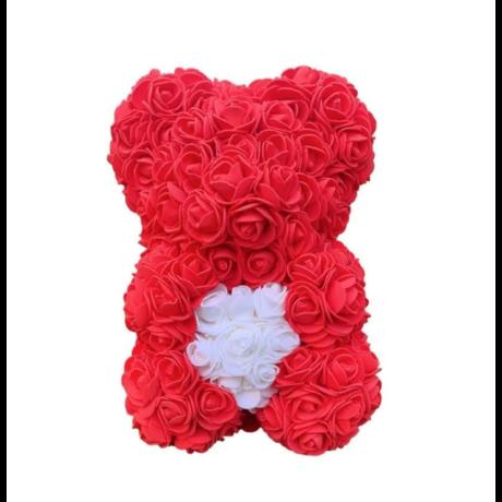 Rózsa maci, örök virág maci díszdobozban 25 cm - piros-fehér