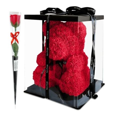 Rózsa maci díszdobozban 40 cm - piros + 1 szál szappan rózsa
