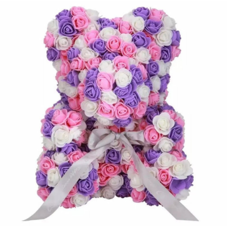 Rózsa maci díszdobozban 40 cm - mix (rózsaszín-lila-fehér)