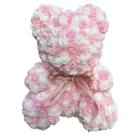 Rózsa maci díszdobozban 40 cm - mix (rózsaszín-fehér)