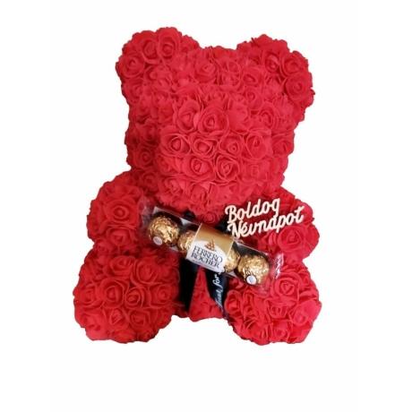 """Rózsa maci Ferrero Rocher """"Boldog névnapot"""" örök virág maci, habrózsa díszdobozban - 40 cm"""