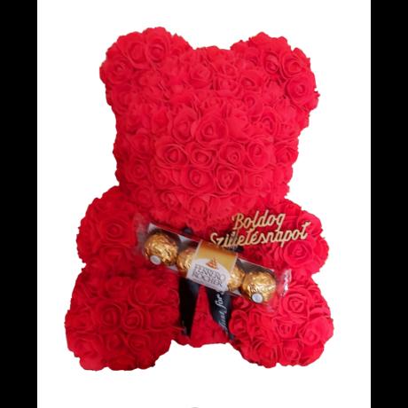 """Rózsa maci Ferrero Rocher desszerttel """"Boldog születésnapot"""" örök virág maci, habrózsa díszdobozban - 40 cm"""