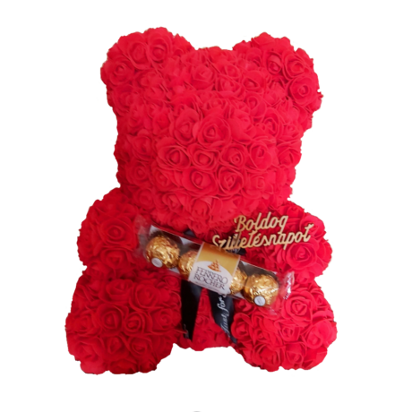 """Rózsa maci Ferrero Rocher """"Boldog születésnapot"""" örök virág maci, habrózsa díszdobozban - 40 cm"""