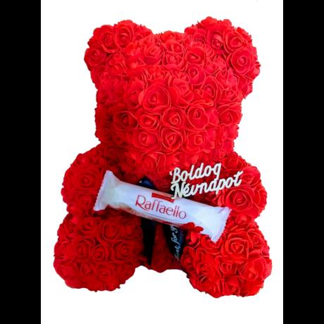 """Rózsa maci Raffaello desszerttel """"Boldog névnapot"""" örök virág maci, habrózsa díszdobozban - 40 cm"""